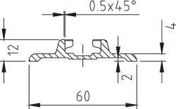 Airlineschiene breit zum Kleben, Länge 1,997m